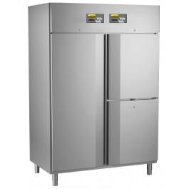 Kühl- / Tiefkühlkombination, steckerfertig, für GN 2/1, mit getrennt regelbarem Tiefkühlabteil und 2 Kühlabteilen