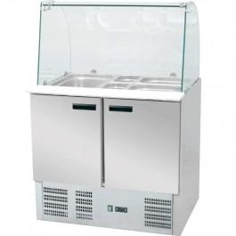 Saladette mit Glasaufsatz, mit zwei Türen, für 10 x GN 1/4 (150 mm), Abmessung 900 x 700 x 1300 mm (BxTxH) von Stalgast