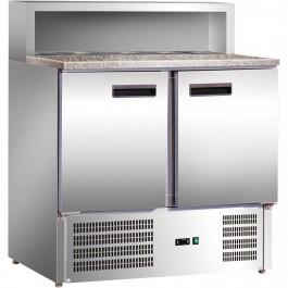 Pizzatisch mit Kühlaufsatz, zwei Türen, für 5 x GN 1/6 (150 mm), 900 x 700 x 1075 mm (BxTxH) von Stalgast