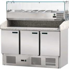Pizzatisch mit Kühlaufsatz, drei Türen, für 6 x GN 1/4 (150 mm) 1400 x 700 x 1450 mm (BxTxH) von Stalgast