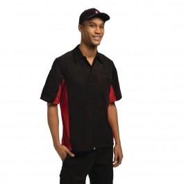 Colour by Chef Works Unisex Kontrast Hemd schwarz und rot L