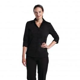 Uniform Works Damen Stretch Hemdbluse dreiviertelarm schwarz S
