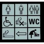 Hinweisschild WC, 13 x 13 cm, Chromnickelstahl