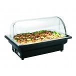 Elektro Chafing Dish GN 1/1 mit Polycarbonat Roll Top Deckel, 56 x 36 x 32 cm, Kunststoff