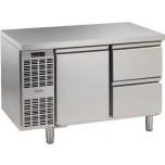 Kühltisch, 2 Abteile, steckerfertig, 1 Tür, 2 Schubladen 1/2 Korpushöhe: 650 mm, Tiefe: 700 mm