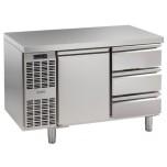 Kühltisch, 2 Abteile, steckerfertig, mit 1 Tür, 3 Schubladen 1/3 Korpushöhe: 650 mm, Tiefe: 700 mm