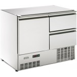 Kühltisch, 1 Tür, 2 Schubladen GN 1/1, ohne Arbeitsplatte steckerfertig, Korpushöhe: 800 mm, Tiefe: 700 mm passend für GN 1/1