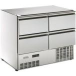 Kühltisch, 4 Schubladen GN 1/1, ohne Arbeitsplatte steckerfertig, Korpushöhe: 800 mm, Tiefe: 700 mm für GN 1/1