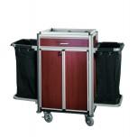 Zimmerservicewagen mit Türen und einer Schublade, Alu Profil, MDF dunkle Holzmaserung, 2 Wäschesäcke