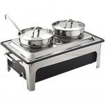 Elektro-Suppenstation, Wanne aus Kunststoff, 2 x 4 Liter, inklusive zwei Suppenschöpfern