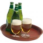 Bierglasträger aus laminiertem Schichtstoff, Farbe Mahagoni, Ø 36 cm, Höhe 3,5 cm