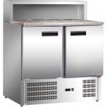 Pizzatisch mit Kühlaufsatz, zwei Türen, für 5 x GN 1/6 (150 mm), 900 x 700 x 1075 mm (BxTxH)