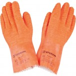 Latex-Handschuhe, fünf Finger, orange, Länge 30 cm