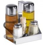 Menage 5-teilig Essig, Öl, Salz & Pfeffer &