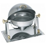 Chafing Dish mit Roll Top Deckel, 53 x 39 x 42 cm, Ø 34 cm, Chromnickelstahl