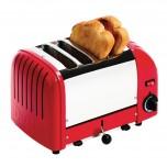 Dualit Toaster 4 Edelstahl + Rot