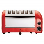 Dualit Toaster 6 Edelstahl + Rot