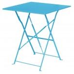 Bolero azurblauer Terassentisch aus Stahl viereckig