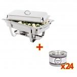 SONDERANGEBOT Milan Chafing Dish mit 24x Brennpastengel