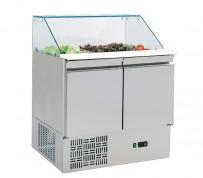 Pizzavorbereitungskühltisch, Glasaufsatz, 2 Türen, Arbeits-