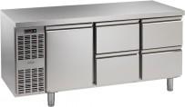 Kühltisch, 3 Abteile, steckerfertig, mit 1 Tür, 4 Schubladen 1/2 Korpushöhe: 650 mm, Tiefe: 700 mm