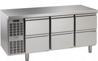 Kühltisch, 3 Abteile, steckerfertig, mit 6 Schubladen 1/2 Korpushöhe: 650 mm, Tiefe: 700 mm
