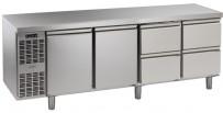 Kühltisch, 4 Abteile, steckerfertig, 2 Türen, 2 Schubladen 1/2 Korpushöhe: 650 mm, Tiefe: 700 mm