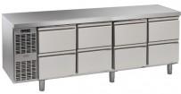 Kühltisch, 4 Abteile, steckerfertig, mit 8 Schubladen 1/2 Korpushöhe: 650 mm, Tiefe: 700 mm