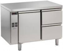 Kühltisch, 2 Abteile, zentralgekühlt, 1 Tür, 2 Schubladen 1/2 Korpushöhe: 650 mm, Tiefe: 700 mm