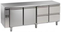 Kühltisch, 4 Abteile, zentralgekühlt, 2 Türen, 2 Schubladen 1/2 Korpushöhe: 650 mm, Tiefe: 700 mm