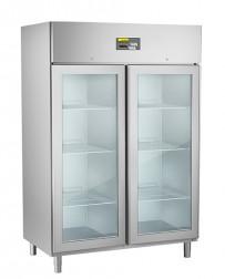 Umluft-Gewerbetiefkühlschrank, steckerfertig, für GN 2/1, mit 2 Glastüren