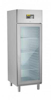 Umluft-Gewerbetiefkühlschrank, steckerfertig, für GN 2/1, mit Glastür Auflagerippen in die Seitenwände integriert