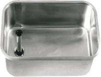 Einlassbecken 500 x 300 mm, H: 300 mm, 1 mm Wandstärke, mit Ablaufventil und Standrohr (Kunststoff/ Edelstahl)