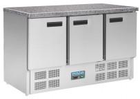Polar Thekenkühltisch mit Marmorarbeitsfläche 3türig 368Ltr