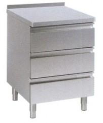 Schubladentisch, 400x700x850mm, CNS 18/10, mit höhen-