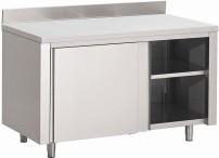 Gastro M Arbeitstisch mit Schiebetüren und Aufkantung 1000mm