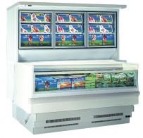 Wandkühlregal/Tiefkühlwanne Kombi, steckerfertig mit Tiefkühlwanne und Kühlaufsatz, verschiedene Breitemaße wählbar
