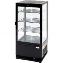 Kühlvitrine mit LED-Innenbeleuchtung, 78 Liter, schwarz, Abmessung 428 x 386 x 960 mm (BxTxH)
