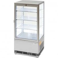 Kühlvitrine mit LED-Innenbeleuchtung, 78 Liter, silber, Abmessung 428 x 386 x 960 mm (BxTxH)