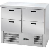 Kühltisch mit vier Schubladen, Abmessung 900 x 700 x 880 mm (BxTxH)