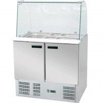 Saladette mit Glasaufsatz, mit drei Türen, für 16 x GN 1/4 (150 mm), Abmessung 1365 x 700 x 1300 mm (BxTxH)