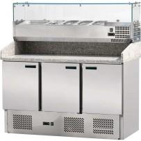 Pizzatisch mit Kühlaufsatz, drei Türen, für 6 x GN 1/4 (150 mm) 1400 x 700 x 1450 mm (BxTxH)