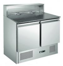 Pizzatisch 900x700x1075mm, 2x 1/1 GN, 230 V, 50 Hz, 90 kg,