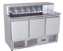 Pizzatisch 1365x700x1020mm, 3x 1/1 GN, 230 V, 50 Hz, 155 kg,