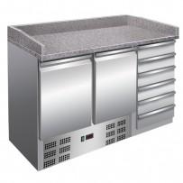 Pizzakühltisch 1420x700x1020mm, intern:1340x515x500mm