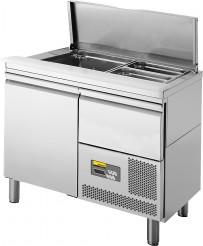 Saladette, 1 Tür, mit Schublade über dem Maschinenfach für 2 x GN 1/1 und 3 x GN 1/4