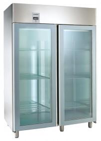 Umluft-Gewerbetiefkühlschrank, für GN 2/1, mit 2 Glastüren