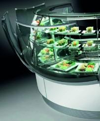 Panorama-Kühlvitrine, steckerfertige Eckausführung, Umluftkühlung, ohne Frontpaneel